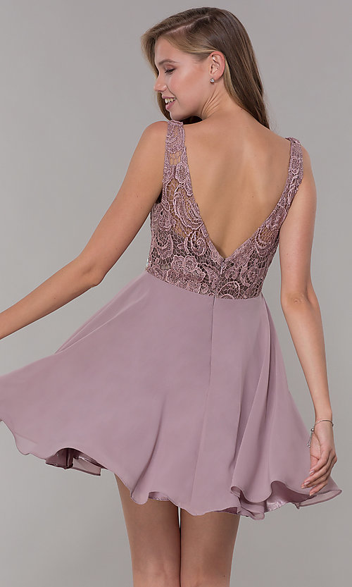 Image of embroidered-bodice short mocha homecoming dress. Style: DQ-PL-3098 Back Image