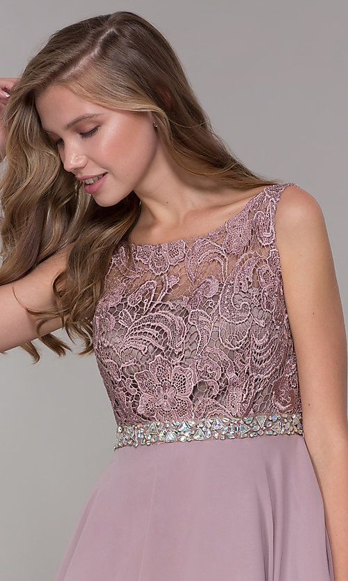Image of embroidered-bodice short mocha homecoming dress. Style: DQ-PL-3098 Detail Image 1