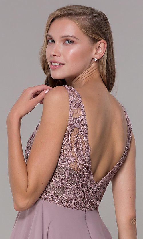 Image of embroidered-bodice short mocha homecoming dress. Style: DQ-PL-3098 Detail Image 2