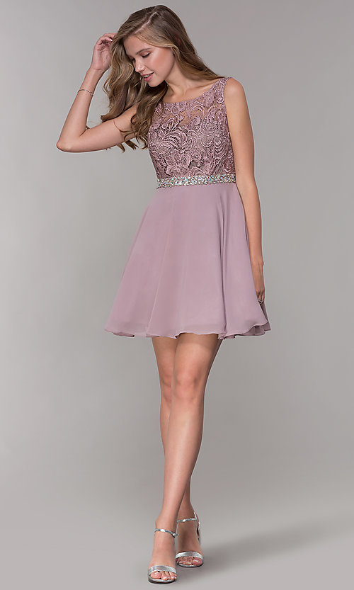 Image of embroidered-bodice short mocha homecoming dress. Style: DQ-PL-3098 Detail Image 3