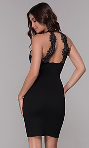 Image of high-neck short cocktail party dress with lace back. Style: SJP-AS101 Back Image