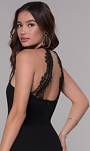Image of high-neck short cocktail party dress with lace back. Style: SJP-AS101 Detail Image 2