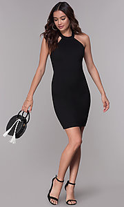Image of high-neck short cocktail party dress with lace back. Style: SJP-AS101 Front Image