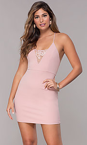 Image of bodycon short homecoming party dress with lace. Style: SJP-AS102 Detail Image 3