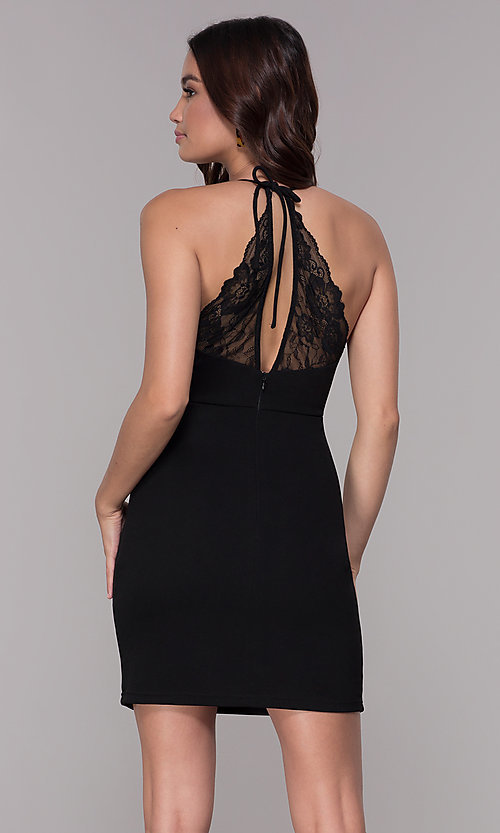 Image of bodycon short homecoming party dress with lace. Style: SJP-AS102 Back Image