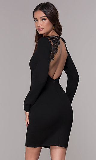 Open-Back Long-Sleeve Short Cocktail Party Dress