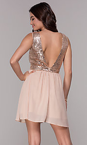 Image of short chiffon sequin-bodice homecoming party dress. Style: SJP-AS105 Back Image