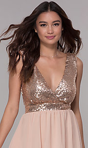 Image of short chiffon sequin-bodice homecoming party dress. Style: SJP-AS105 Detail Image 1