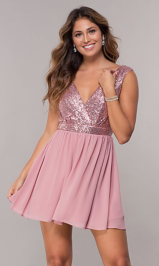Short Chiffon Sequin-Bodice Homecoming Party Dress