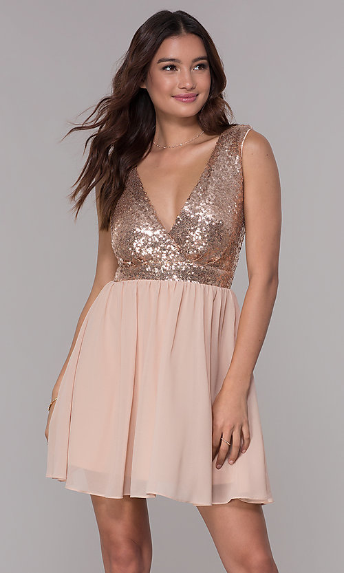 Image of short chiffon sequin-bodice homecoming party dress. Style: SJP-AS105 Front Image