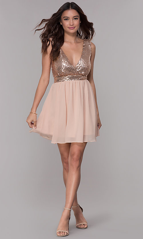 Image of short chiffon sequin-bodice homecoming party dress. Style: SJP-AS105 Detail Image 2