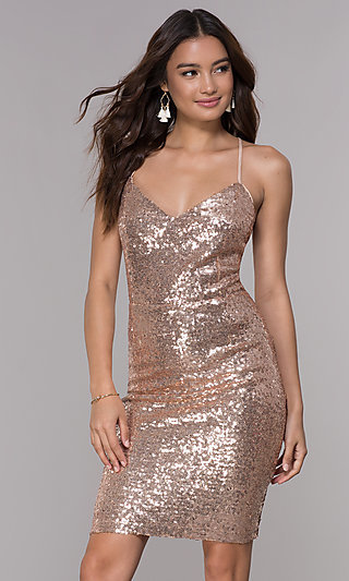 V-Neck Open-Back Short Sequin Homecoming Dress