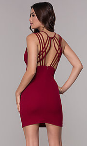 Image of short homecoming party dress with caged open back. Style: SJP-AS107 Back Image
