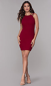 Image of short homecoming party dress with caged open back. Style: SJP-AS107 Detail Image 2