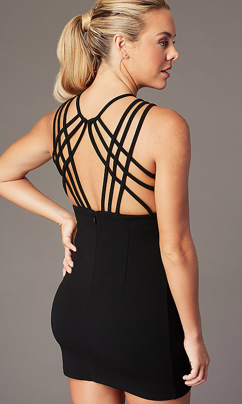 Image of short homecoming party dress with caged open back. Style: SJP-AS107 Detail Image 4