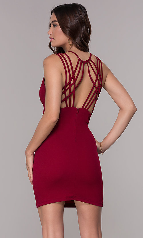 Image of short homecoming party dress with caged open back. Style: SJP-AS107 Front Image