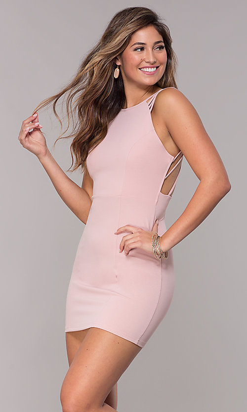 Image of short homecoming party dress with caged open back. Style: SJP-AS107 Detail Image 7