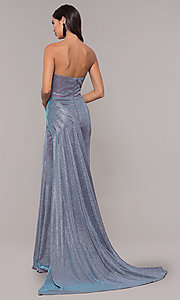 Image of strapless long metallic sparkly formal prom dress. Style: CD-2076 Back Image