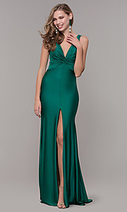 Image of knotted-bodice long formal dress with back cut out. Style: CD-2138 Detail Image 3