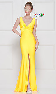 Image of knotted-bodice long formal dress with back cut out. Style: CD-2138 Detail Image 4