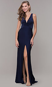 Image of knotted-bodice long formal dress with back cut out. Style: CD-2138 Detail Image 2