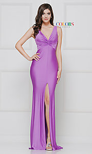 Image of knotted-bodice long formal dress with back cut out. Style: CD-2138 Detail Image 6