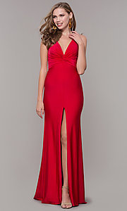 Image of knotted-bodice long formal dress with back cut out. Style: CD-2138 Detail Image 1