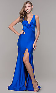 Image of knotted-bodice long formal dress with back cut out. Style: CD-2138 Front Image