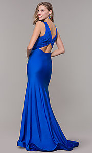 Image of knotted-bodice long formal dress with back cut out. Style: CD-2138 Back Image