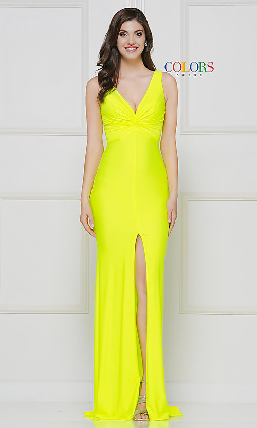 Image of knotted-bodice long formal dress with back cut out. Style: CD-2138 Detail Image 5