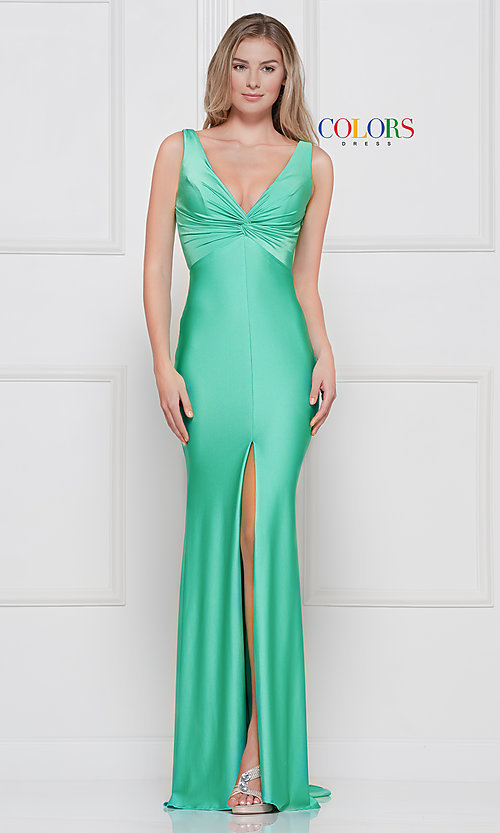 Image of knotted-bodice long formal dress with back cut out. Style: CD-2138 Detail Image 7