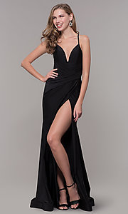 Image of long deep-v-neck faux-wrap formal dress with train. Style: CD-2106 Detail Image 5