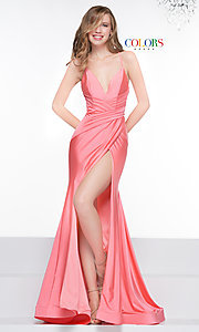 Image of long deep-v-neck faux-wrap formal dress with train. Style: CD-2106 Detail Image 6