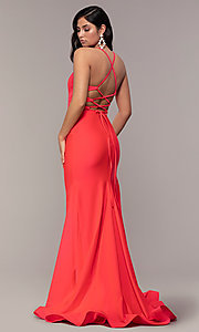 Image of long deep-v-neck faux-wrap formal dress with train. Style: CD-2106 Back Image