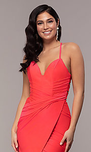 Image of long deep-v-neck faux-wrap formal dress with train. Style: CD-2106 Detail Image 1