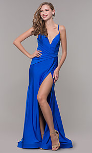 Image of long deep-v-neck faux-wrap formal dress with train. Style: CD-2106 Detail Image 3
