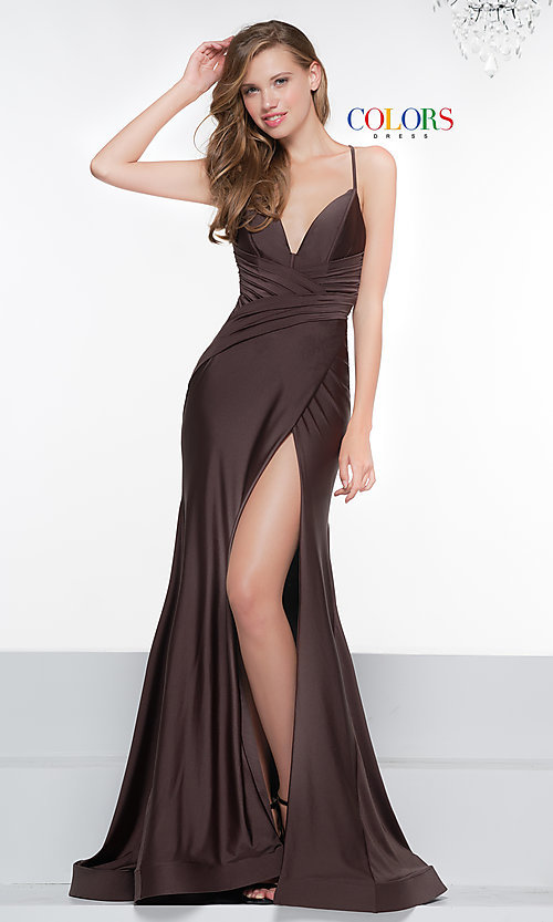 Image of long deep-v-neck faux-wrap formal dress with train. Style: CD-2106 Detail Image 7