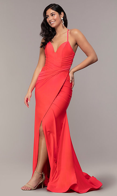 Image of long deep-v-neck faux-wrap formal dress with train. Style: CD-2106 Front Image