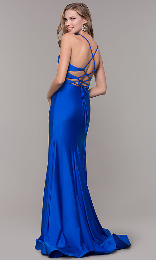 Image of long deep-v-neck faux-wrap formal dress with train. Style: CD-2106 Detail Image 4