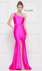 Image of one-shoulder long formal dress with front slit. Style: CD-2133 Detail Image 7