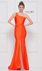 Image of one-shoulder long formal dress with front slit. Style: CD-2133 Detail Image 5