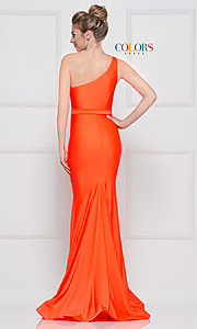 Image of one-shoulder long formal dress with front slit. Style: CD-2133 Detail Image 6