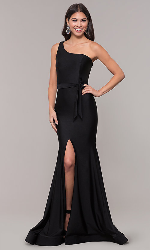 Image of one-shoulder long formal dress with front slit. Style: CD-2133 Front Image