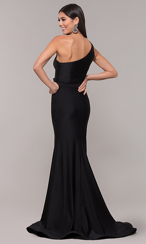 Image of one-shoulder long formal dress with front slit. Style: CD-2133 Back Image