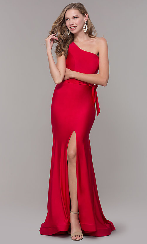 Image of one-shoulder long formal dress with front slit. Style: CD-2133 Detail Image 3