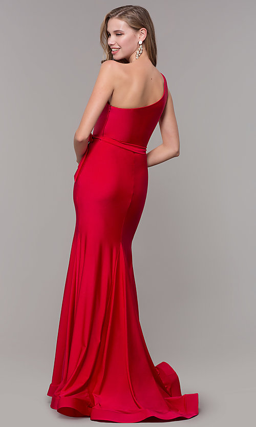Image of one-shoulder long formal dress with front slit. Style: CD-2133 Detail Image 4