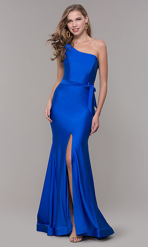 Image of one-shoulder long formal dress with front slit. Style: CD-2133 Detail Image 1