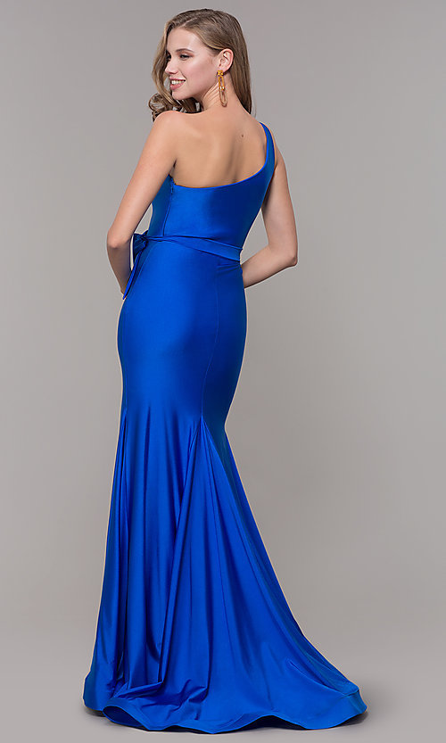 Image of one-shoulder long formal dress with front slit. Style: CD-2133 Detail Image 2