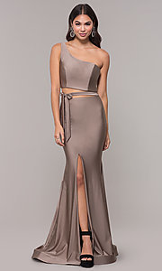 Image of one-shoulder long sexy formal dress with cut out. Style: CD-2137 Front Image