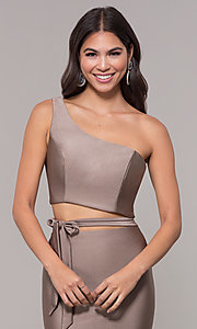 Image of one-shoulder long sexy formal dress with cut out. Style: CD-2137 Detail Image 1